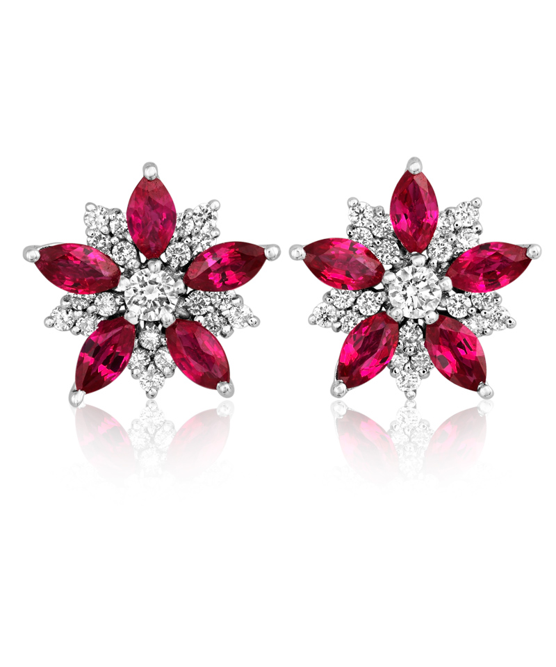 Ruby Diamond Earrings White Gold