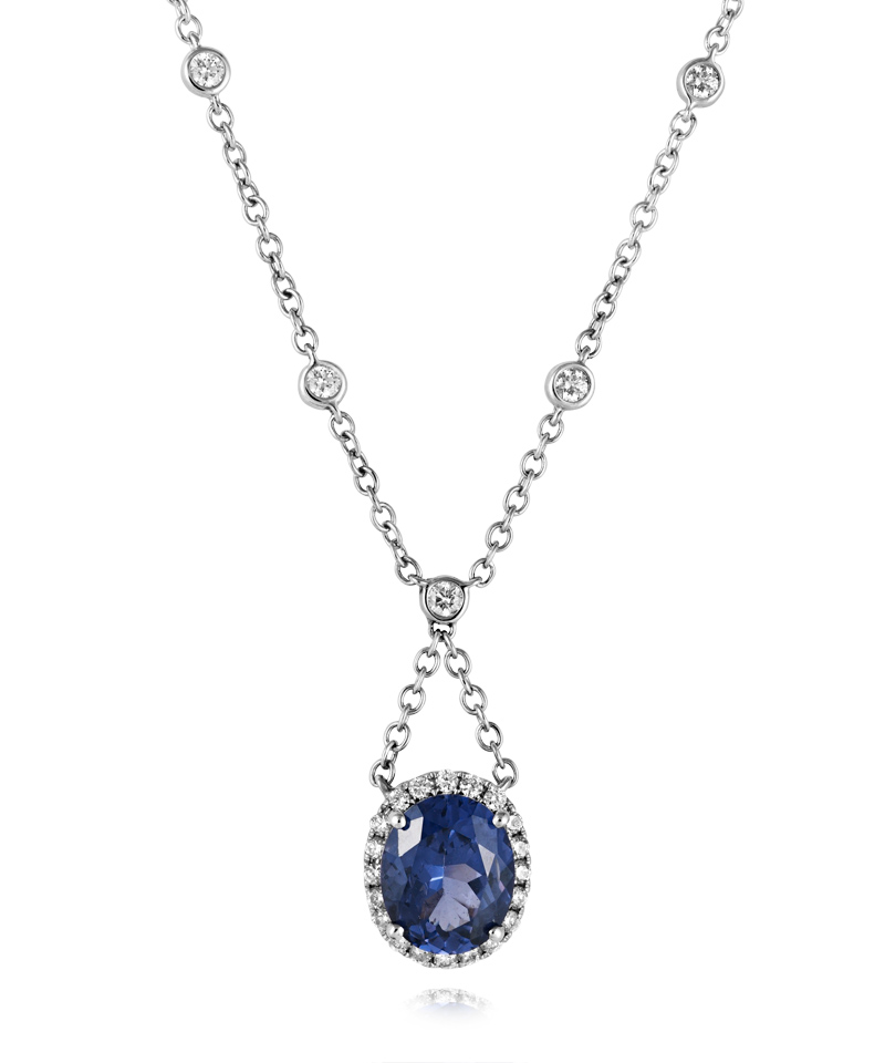 Blue Spinel And Diamond Necklace Spinel